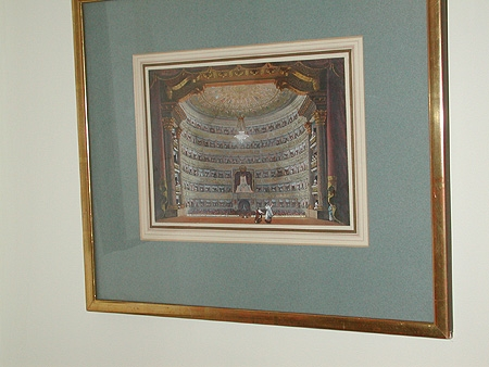 A hand coloured engraving Tosca with Pollione and Norma framed in a gilt frame