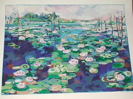 A 20th century lithograph of a lilly pond artists proof numbered 13/50unframed and signed