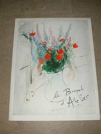 A 20th century lithograph titled Le Bouquet d'atelier numbered 229/500 unframed