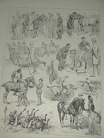A  19th century engraving Sketches at the Polo Race at Hurlingham signed Courbould professionally mounted