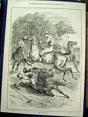 A great original page engraving from The illustrated Sporting and dramatic news 1885 featuring a very dramatc moment in a polo match title slipped up slight creasing to one corner professionally mounted