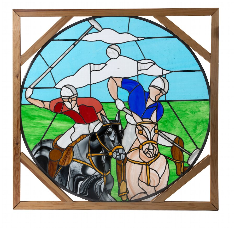 A 20th century stained glass window depicitng a polo match. These windows can be made to order with any specification for your requirements please e mail us your details