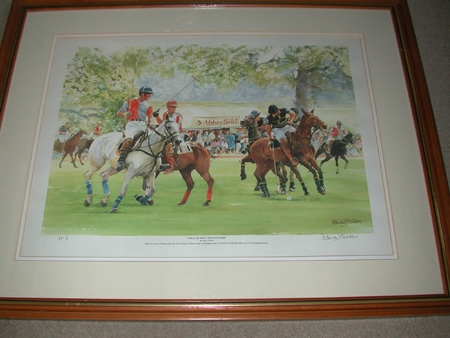 A limited edition print by Edwin Straker signed and numbered number 1 Polo at Kirklington Park wi...
