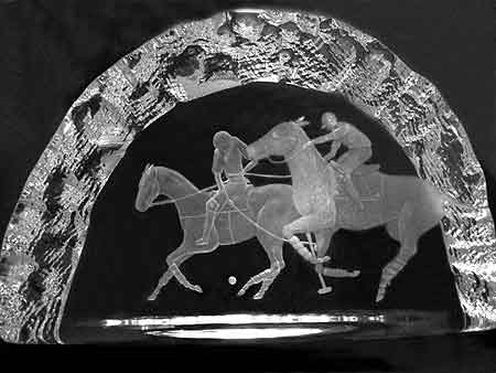 A glass Cullet Edinburgh 20th century engraved by Sandra Snaddon on both sides giving it an amazi...