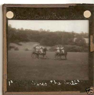A Victorian glass magic lantern slide of four polo ponies
