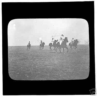 A Victorian glass magic lantern slide of a polo game
