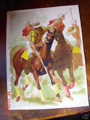 429Frank Ashley Nelson American 1920-2007 Original watercolour on paper polo playing He was one o...