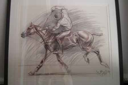 Venita Sayer Latvian living in England pencil drawing on paper Polo Pony signed and framed