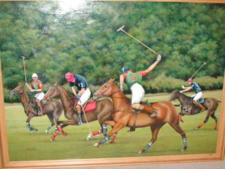 Oil on canvas the polo match signed E Ballard English School 20th century framed