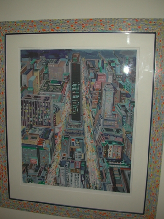 An unknown American lithograph of a New York street scene with pointelist frame