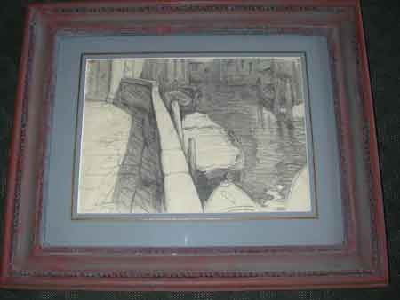 Tim Rukavina American 20th century pencil on paper a framed A view of a canal in Venice