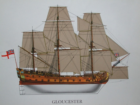 Antique Print of the Gloucester professionally mounted