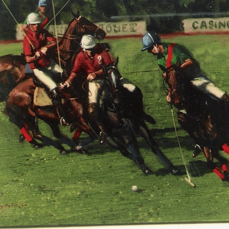 An original lithograph  by Henry Koehler American born 1927 polo at Deauville signed artists proof c 1971 framed
