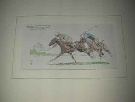 John Board English 20th century a polo artist a coloured print in a cream mount with a hand paint...