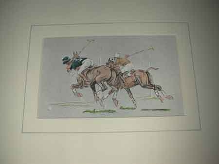 John Board English 19th/20th century polo artist a coloured print of two players proffessionally ...