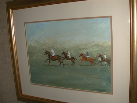 Oil on canvas laid down on board a spectators view signed M Pamela Lander British 20th century framed