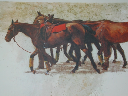 An original lithograph by Henry Koehler American born 1927 Groom with horses artists proof circa 1977 framed
