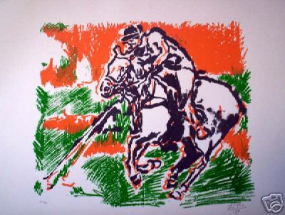 To celebrate the anniversary of polo 1869-1999 a lithographic print signed F Vio 99 and numbered 30/34 unframed