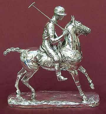 A silver polo player trophy or sculpture fully hallmarked Sheffield markings are 925 European Ste...