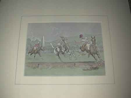 John Board English 20th Polo artist a coloured print Riding off the boards Proffessionally mounted in a cream mount ready for framing