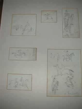 Six action polo pencil sketches in one mount the largest 16 x12 cms dated 1900 and signed but not legible (LUIZ)