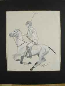 Antique An original water colour on paper polo player signed Aurora Eastwood and dated ?4