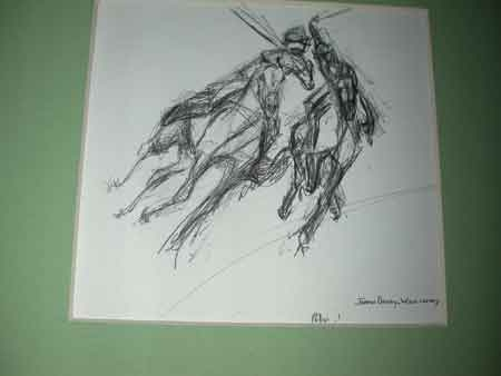 Jean Parry Williams pencil sketch of polo players in action.  An original sketch for an illustration in her book \