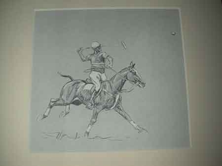 John Board English polo artist 20th century polo illustration mounted in a cream mount ready for ...