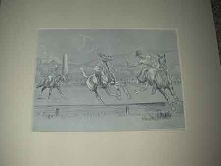 John Board English 20th century a polo illustration mounted in a cream mount ready for framing