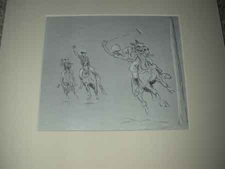 John Board English 20th century polo illustration mounted in a cream mount ready for framing