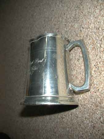 Edwin Blyde pewter polo trophy Sheffield England Stone leigh Park Polo Club 1997 damaged as shown