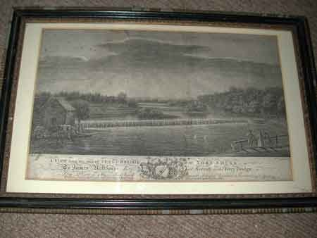 An 18th century engraving Yorkshire A view form the end of Ferry-Bridge To James Nefthorpe Esq at Secroft near Ferry Bridge Published 17th January 1774 by R Sayer Map and Print feller in Fleet Street John Boydell Engraver in Cheapside in its origianl 18th century frame