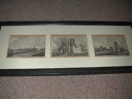 Three 18th century engravins of Kirkstall Abbey Yorkshire each measures 12 x 15 cms and are inscr...