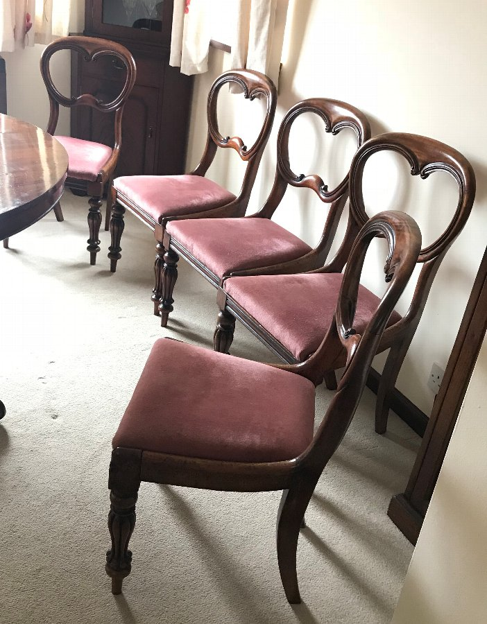 Antique Set of 5 Antique Early Victorian Balloon Back Mahogany Dining Chairs c1850