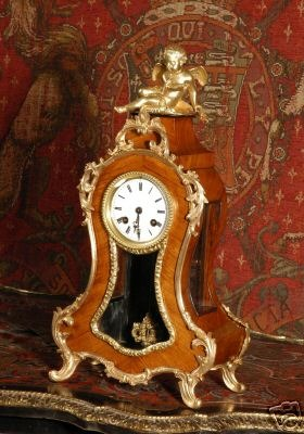 Antique ANTIQUE FRENCH BOUDOIR CLOCK KINGWOOD ORMOLU CUPID 1860