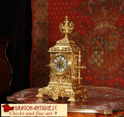 Antique JAPY FRERES ANTIQUE FRENCH GOTHIC TABLE CLOCK C1870