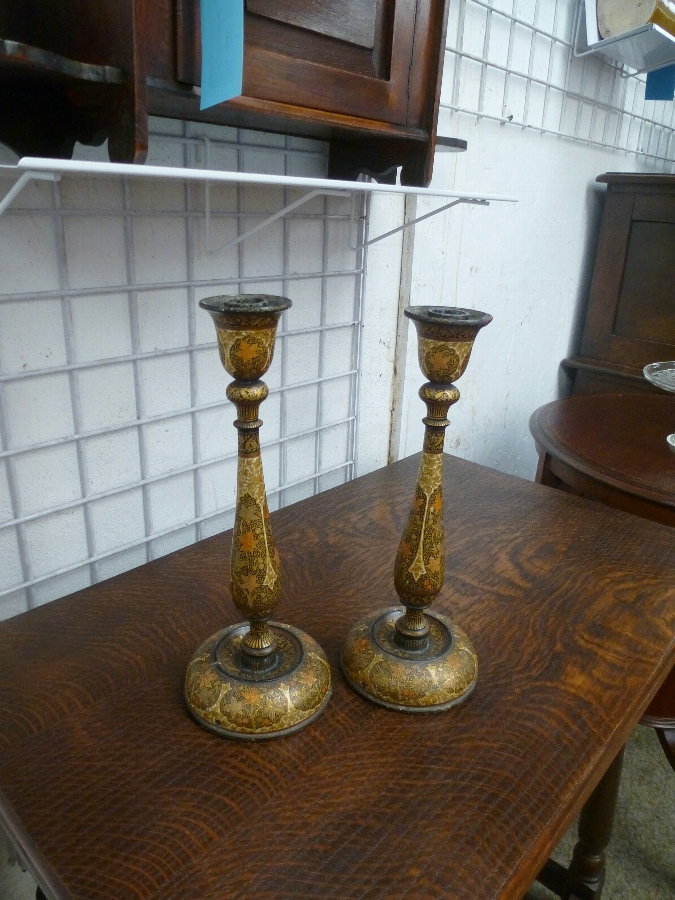 Antique Kashmir Candlesticks