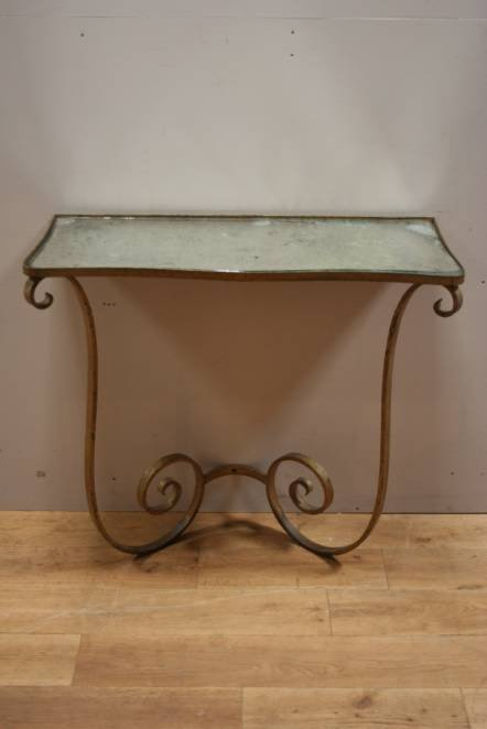 Antique A 1940s gilded metal console table