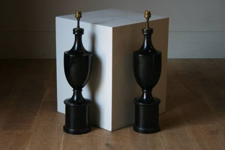 Antique A very stylish pair of ebonised lamps