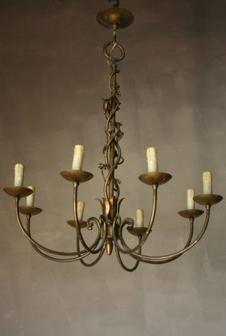 Antique A 1930s  50s painted metal chandalier