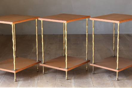 Antique A trio of brass and lacquered sofa tables