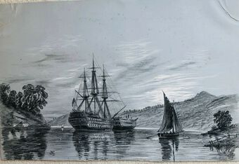 Antique English School, 19c. Watercolour, Warships