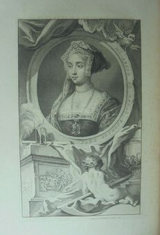 Antique J. Houbraken ( 1698 – 1780), after Holbein. Jane Seymour. Print  1738