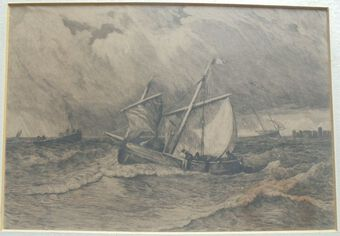 Antique Robert Kent Thomas - Fishing boats off the coast of Holland