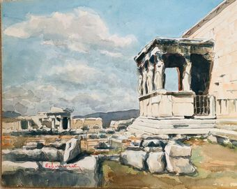 Antique Tower of the Winds, Acropolis, Watercolour. Signed