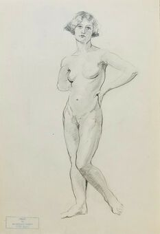 Antique William Greengrass (1896-1970), Study of a Female Nude, Recto/Verso