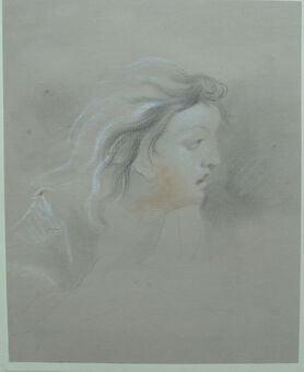 Antique Richard Earlom (1743-1822). Female Profile. Pastel