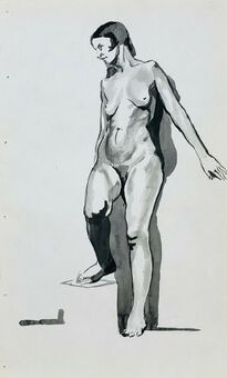 Antique William Greengrass (1896-1970), Study of a Female Nude, Pen, Ink and Wash