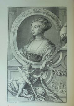 Antique J. Houbraken ( 1698 – 1780), after Holbein. Anne Bullen (Boleyn). Print  1738