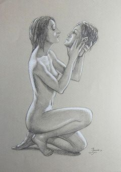 Antique Richard Ennis (1958-). Head over ears in love.  Drawing, Modern British. Pastel.